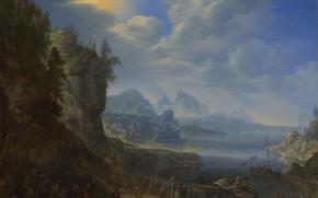 Картинка картина, религия, мифология, Герман Сафтлевен, Проповедь Христа с лодки святого Петра, Herman Saftleven