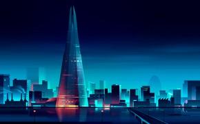 Картинка Англия, Лондон, Минимализм, Мост, Ночь, Город, Река, Вид, Стиль, Великобритания, Судно, Пейзаж, Архитектура, Небоскрёб, Арт, …