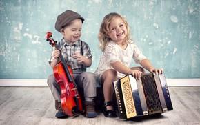 Обои скрипка, игра, мальчик, девочка, girls, улыбки, smile, boys, музыкальные инструменты, little, musical, Instruments