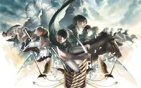 Картинка аниме, персонажи, атака титанов, Shingeki no Kyojin, вторжение титанов