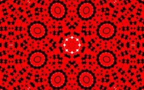 Картинка красный, узор, круг, калейдоскоп