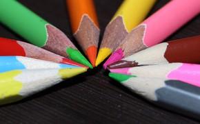 Картинка макро, стол, цветные, карандаши