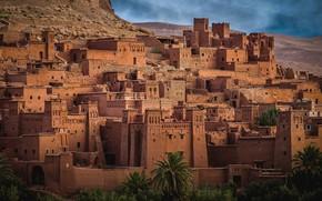 Картинка город, пустыня, здания, дома, холм, Марокко, ксар, Айт-Бен-Хадду
