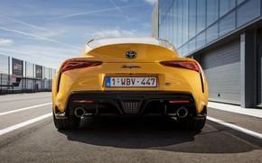 Картинка жёлтый, купе, Toyota, Supra, пятое поколение, корма, mk5, двухместное, 2019, GR Supra, A90, Gazoo Racing, …