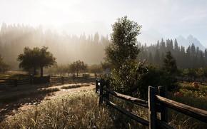 Картинка поле, горы, туман, фото, рассвет, забор, тыквы, 3D графика