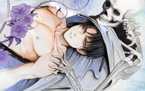 Картинка цветы, скелет, парень, Атака Титанов, Shingeki No Kyojin, Леви, by redwarrior3