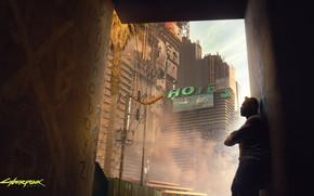 Картинка город, мужик, Cyberpunk 2077