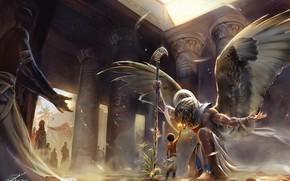 Картинка бог, крылья, мальчик, колонны, храм, Египет, wings, Egypt, boy, god, temple, Horus, Хорус, Гор, анкх