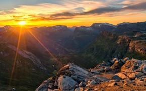 Картинка горы, скалы, рассвет, утро