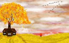 Картинка осень, зонт, девочка, иллюстрация