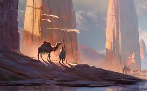 Картинка fantasy, desert, rocks, men, digital art, artwork, fantasy art, creatures, Camels, caravan