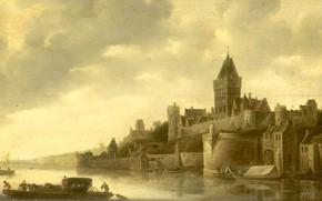 Картинка пейзаж, масло, картина, 1650, Вид на Валькхоф в Неймегене, Франс де Хюлст, Frans de Hulst