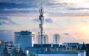 Картинка город, панорама, самолёт