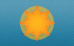 Картинка Фон, Иллюзия, Минимализм, Лучи, Арт, Солнце, Оптическая иллюзия