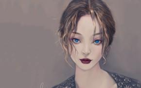 Картинка губки, голубые глаза, серый фон, art, портрет девушки, смотрит в глаза, Fei Teng