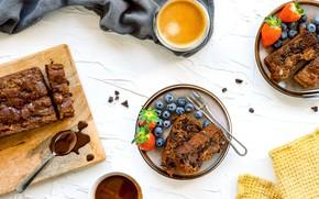 Картинка ягоды, кофе, еда, пирог, десерт, шоколадный