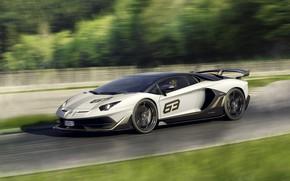 Картинка скорость, Lamborghini, суперкар, 2018, Aventador, Aventador SVJ, SVJ 63