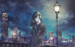 Картинка девушка, ночь, улица, фонарь