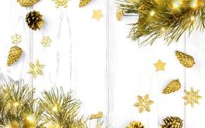 Картинка ветки, праздник, игрушки, новый год, огоньки, гирлянды, сосна