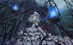 Картинка девушка, дом, игра, крылья, аниме, Touhou Project, Remilia Scarlet