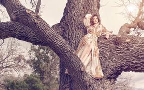 Картинка взгляд, девушка, поза, дерево, платье, Anne Hathaway