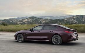Картинка холмы, купе, BMW, боком, 2019, M8, четырёхдверное, M8 Gran Coupe, M8 Competition Gran Coupe, F93