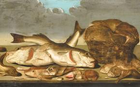 Картинка масло, картина, Натюрморт с рыбами, 1638, Willem Ormea