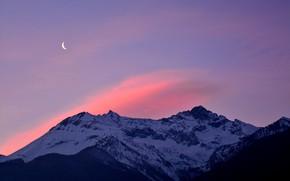 Картинка зима, небо, облака, снег, деревья, горы, природа, скалы, рассвет, луна, Альпы, Италия