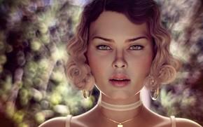 Картинка глаза, взгляд, девушка, свет, украшения, лицо, рендеринг, фон, портрет, блондинка, сердечко, плечи, шея, локоны, боке