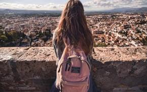 Картинка город, Девушка, рюкзак
