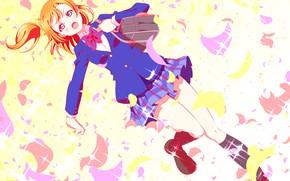 Картинка девочка, форма, школьница, сумка, Love Live School Idol Project, Живая любовь