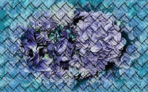 Картинка рендеринг, фон, текстура, плетенка, картинка, цветочное ассорти, холодные оттенки зимы