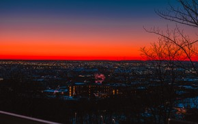 Картинка небо, город, рассвет, утро, панорама