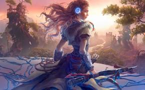Картинка girl, fantasy, long hair, landscape, weapon, redhead, digital art, artwork, warrior, fantasy art, fantasy girl, …