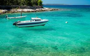 Картинка море, катер, лазурь, Хорватия