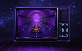 Картинка Музыка, Стиль, Фон, Ferrari, 80s, Style, Neon, Illustration, 80's, Synth, Retrowave, Synthwave, New Retro Wave, …