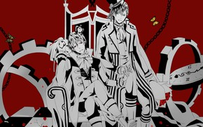 Картинка парни, красный фон, короли, Mahiro Fuwa, Zetsuen No Tempest, Yoshino Takigawa