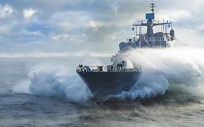 Картинка Море, Туман, Корабль, Волна, Брызги, Иней, US NAVY, Тип «Фридом», Литоральный боевой корабль, LCS-19, USS …
