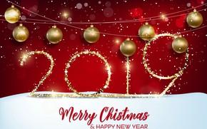 Картинка красный, фон, золото, Новый Год, цифры, red, golden, background, New Year, Happy, sparkle, 2019