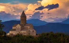 Картинка небо, пейзаж, горы, природа, вечер, собор, архитектура, сумерки, Грузия, монастырь, Кахетия, Алаверди