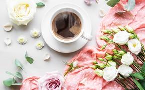 Картинка цветы, кофе, чашка, косынка, эустома