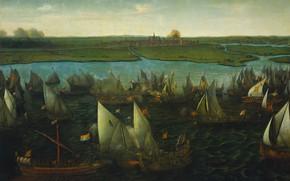 Картинка масло, холст, 1640, Hendrik Cornelisz Vroom, Битва между голландскими и испанскими кораблями, Хендрик Корнелис Врум, …