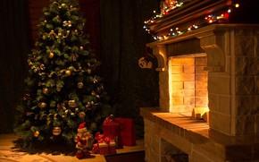 Картинка украшения, тепло, елка, вечер, огоньки, Новый Год, Рождество, подарки, камин, Санта Клаус, лампочки, уютно