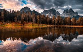 Обои осень, горы, озеро