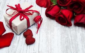 Картинка сердечки, красные, подарочная коробка, розвы, Olena Rudo