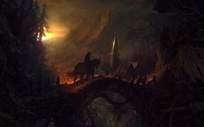 Картинка лес, солнце, мост, лошадь, избушка, всадник, Castlevania: Lords Of Shadow