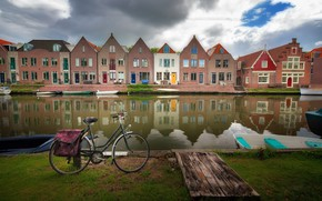 Картинка велосипед, город, канал