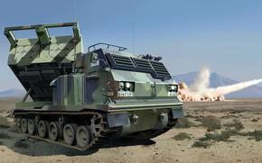 Картинка США, РСЗО, MLRS, M270, американская универсальная пусковая установка, Multiple Launch Rocket System, SPLL
