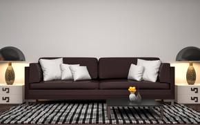 Обои дизайн, лампы, диван, подушки, модерн