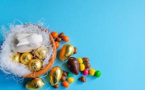 Картинка праздник, шоколад, яйца, кролик, конфеты, фигурка